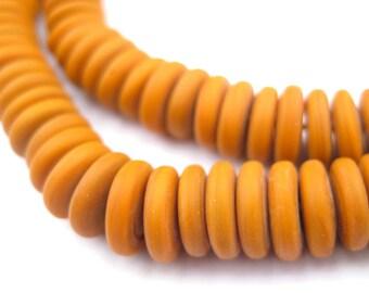 225 Pumkin Orange Glass Disk Beads - Orange Saucer Beads - Orange Spacer Beads - Orange Glass Disks - Light Brown Disks (GLS-DSK-ORG-109)