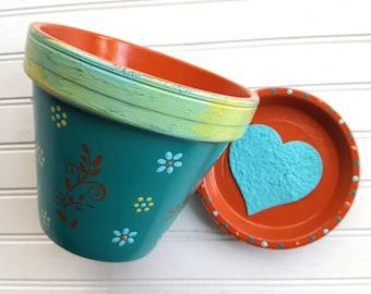 Painted Flower Pot - Turquoise and Orange - Rustic Look - Garden Decor - Boho Decor