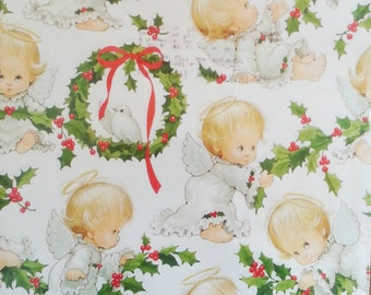 Vintage Wrapping Paper Christmas Angel Baby Scrapbook Craft Supplies Currents Wreath Dove Halo 2 sheets 24 x 30