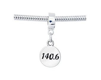 140.6 Sterling Silver Charm European Bead- Triathlon Jewelry