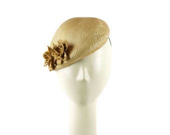 Woodland Wedding Fascinator Hat, Cocktail Hat, Straw Hat, Mini Hats, Races Hat, Wedding Hat, Mother of the Bride, Church Hat, PillboxHat,