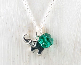 Sterling Silver Elephant Necklace, Tiny Elephant Charm Necklace, Four Leaf Clover Jewelry, Crystal 4 Leaf Clover