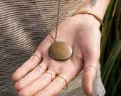 Cyber Monday Sale - Simple Locket Necklace, Dark Antique Locket Round Vintage Necklace, Brass Locket, Men's Necklace Long Pendant Nec...