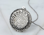 Essential Oil Diffuser Necklace, Big Locket Necklace, Filigree Long Necklace, Silver Round Pendant, Ornate Floral Design Large Jewelry