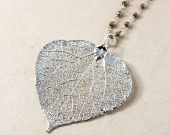 Silver Aspen Leaf Necklace - Black Pyrite Chain - Fall Necklace