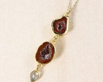 50 OFF SALE Tabasco Agate Geode Necklace – Blue Labradorite – Choose Your Pendant