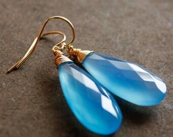 CHRISTMAS SALE Simple Blue Chalcedony Gemstone Earrings - Wire Wrapped Earrings - 14KT Gold Fill