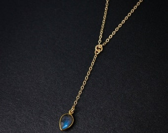 CHRISTMAS SALE Gold Blue Labradorite Drop Necklace - Lariat - Long Pendant
