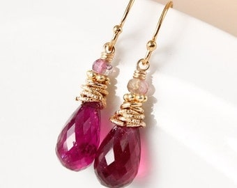 VALENTINE SALE Gold Pink Tourmaline and Watermelon Tourmaline Earrings - Tourmaline Teardrops - Holiday Glamour