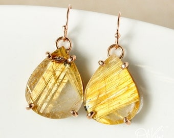 Natural Golden Rutile Quartz Teardrop Dangle Earrings – 14kt Yellow Gold
