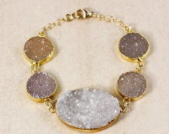 50% OFF Multi-Colour Agate Druzy Bracelet - Statement Bracelet - Natural Druzy