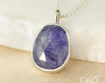 Silver Blue Iolite Necklace - Free Form, Oval Blue Iolite - Natural Blue Iolite