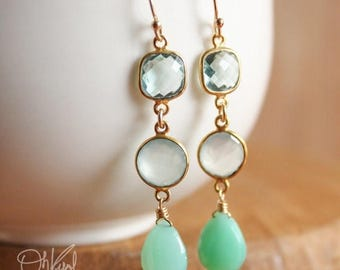ON SALE Minty Green Chrysoprase Aqua Chalcedony Aqua Quartz Gold Earrings