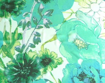 Scarf - Square - Sheer - Large Scale Floral Pattern - Colorful - White - Teal - Turquoise - Yellow - Black - Recycled - Eco Friendly