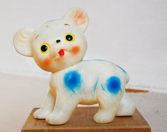 Vintage 1960s Rubber White Bear Small Collectible Squeak Squeeze Toy with Blue Polka Dots.