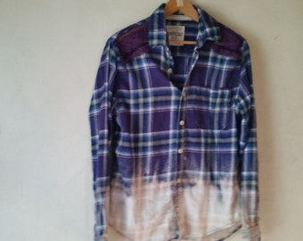 altered flannel ,boho, upcycled , bleached ,lace,flannel shirt