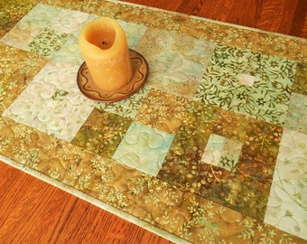 Batik Table Runner with Flowers and Leaves in Shades of Aqua Green and Gold, Quilted Table Runner, Dining Table Decor, Dresser Runner