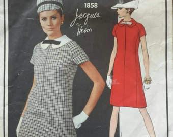 Vintage 1960s Pattern Vogue Paris Original A Line Peter Pan Collar Mod Dress Jacques Heim Vogue 1858 Bust 36