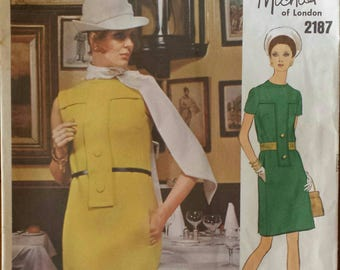 Vintage 1960s Pattern Vogue Couturier Design Collarless Mod Dress Banded Bodice Michael of London  Vogue 2187 Bust 36