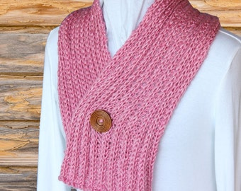 Knit Scarf Pattern, Knitting Pattern for Scarf With Button, Pattern for Rib Knit Scarf, Easy to Knit Scarf Patterns, Heartland Yarn Pattern