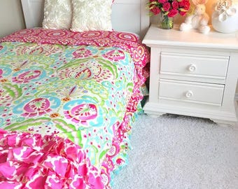 Twin Kumari Garden Children's Bedding, Girl Bedding, Twin Bedding for Girls, Twin Duvets, Twin Girl Bedding Teja Pink, Big Kid Bedding