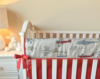 In Stock Airplane Teething Rail Guard, Red Crib Rail Guard, Bumperless Crib Bedding, Boy's Rail Cover, Crib Rail Cover, Rail Guard for Boys