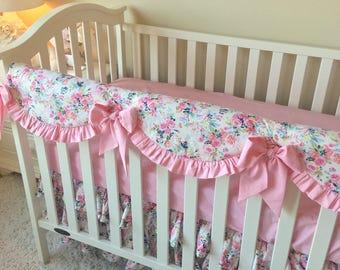 White Floral Crib Bedding, Pink Dot Crib Bedding, Floral Bumperless Crib Bedding, Pink Floral Baby Bedding, White Crib Bedding