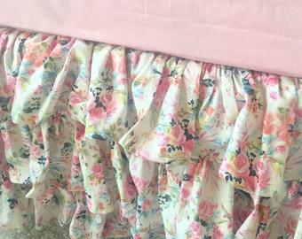 White Floral Crib Skirt, Pink Floral Crib Skirt, Pink Crib Skirt, White Ruffled Crib Skirt, Ruffled Crib Skirt