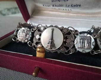 Paris Souvenir Bracelet Art Deco Period Mother Of Pearl Eiffel Tower Free Shipping To The Usa And Canada