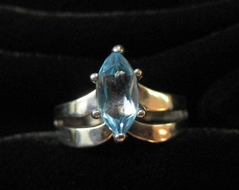 Sterling Ring with Blue Marquis Stone,  Size 8
