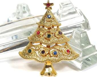 JJ Christmas Tree Brooch Goldtone Metal Vintage 1970s Signed JJ Jonette Holiday Rhinestone Broach - FREE Domestic Shipping