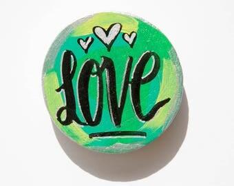 Love Word Magnet, Gift For Wife, Wedding Gift, Love Magnet, Hand Lettering, Bridal Favor, Anniversary Gift, Gift for Her, Kitchen Gift