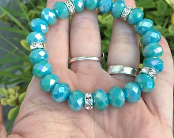 Chunky Blue Crystal Bracelet, Stretchy Bracelet, Simple, Crystal Rhinestones, Mermaid Blue, Sparkle, Glitter, Festive Fun