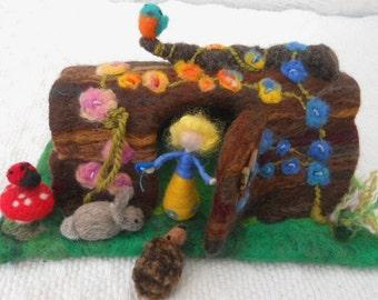 Felted hollow log, fairy tree house, waldorf, play scape, play mat, pre school, nursery school, kindergarten, hedgehog, rabbit, ladybug