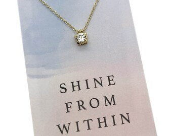 "CZ Diamond Necklace, Cubic Zirconia Necklace, Diamond Solitaire Necklace, Dainty CZ Necklace, gold or silver CZ carded - ""Shine from Within"""