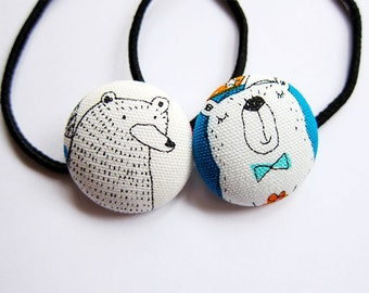 Button Ponytail Holders - Bears - Hair Accessories / Ties and Elastics