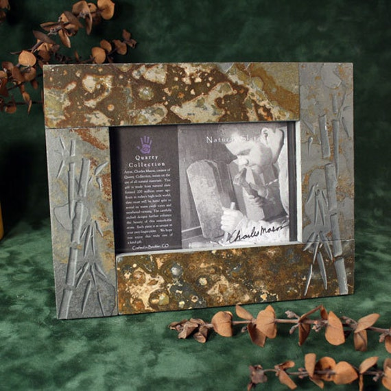 4x6 Real Slate Picture Frame - Bamboo on Copper Stone from ...