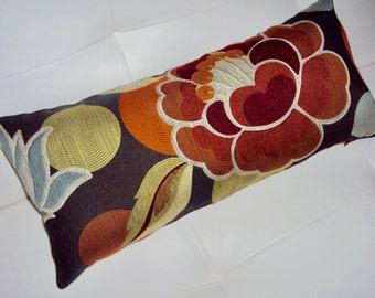 FREE SHIPPING 20x9 Bold Floral Lumbar Pillow - Designer Fabric - OOAK