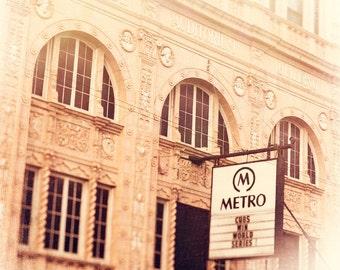 Metro Chicago, Photography, Wall Art Prints, Chicago Music Venue, gold, white, architecture, Wrigleyville artwork, Vintage sign, urban decor