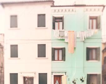 Pastel Wall Art, Burano, Italy Photography, Mint Green Home Decor, landscape art, pastel art, creme, Venice, Nursery art, laundry room decor