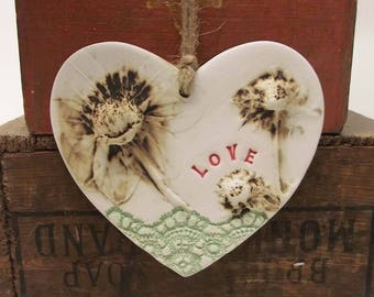 Ceramic Heart natural flower pottery heart lace print gift for her Love