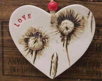 Ceramic Heart natural flower pottery gift for her Love