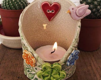 Pottery Bird and Spring Flowers candle holder. Tealight holder, ceramic pot. Trinket dish.