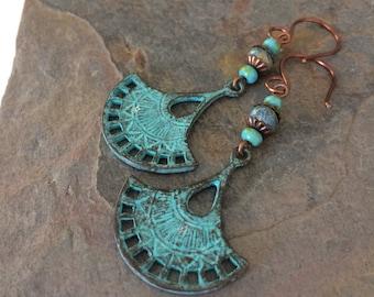 Verdigris Patina Drop and Czech Glass Earrings