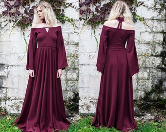 Modern Renaissance Burgundy Off the Shoulder Choker Keyhole Gown XS S M L XL XXL