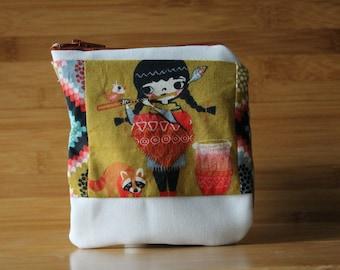 Organic folk girl Small Zipper Poouch