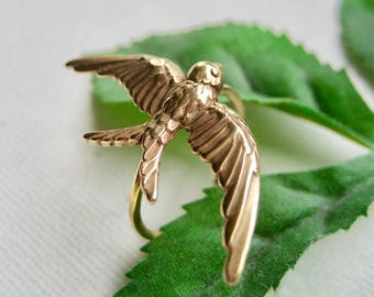 Gold Statement Ring, Big Ring, Bird Ring, Barn Swallow Ring, Bird Jewelry,Gold Bronze Ring,Gold Bird Ring, Flying Bird Ring, Bird Gift Ideas