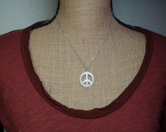 925 Silver Peace Symbol Pendant Necklace