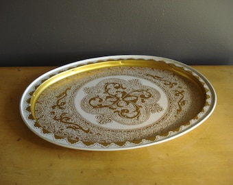 Oh So Fancy - Vintage Cream and Gold Metal Tray - Oval Serving or Drink Tray