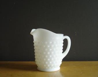 Vintage Hobnail Milkglass Pitcher - Small White Glass Milk Glass Textured Water Pitcher or Vase